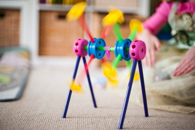Image of a colorful toy spinning using shutter speed. Properly exposed image using the exposure triangle.