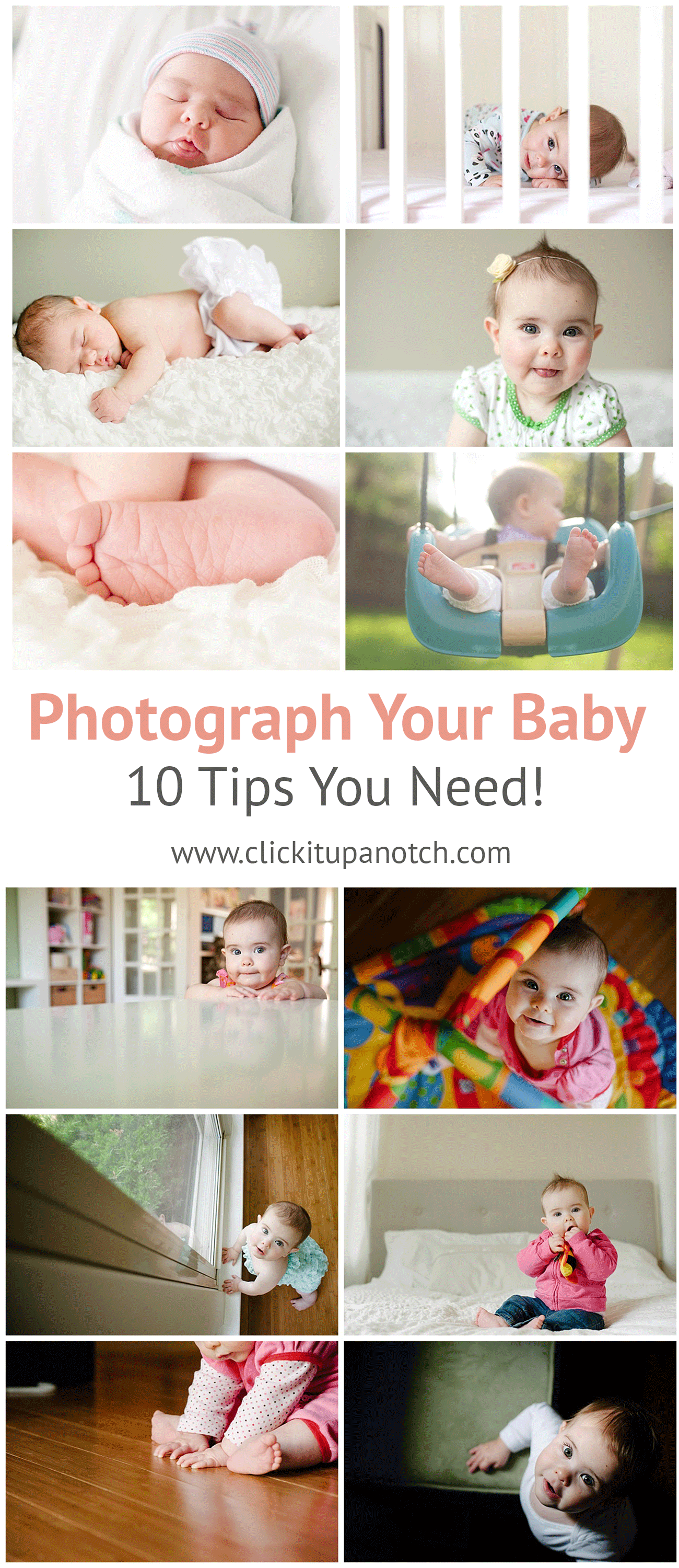 Amazing tips to help you photograph your baby! Such fun and creative ways to capture the early stages of having a baby. Everything you need to know about photographing your baby.