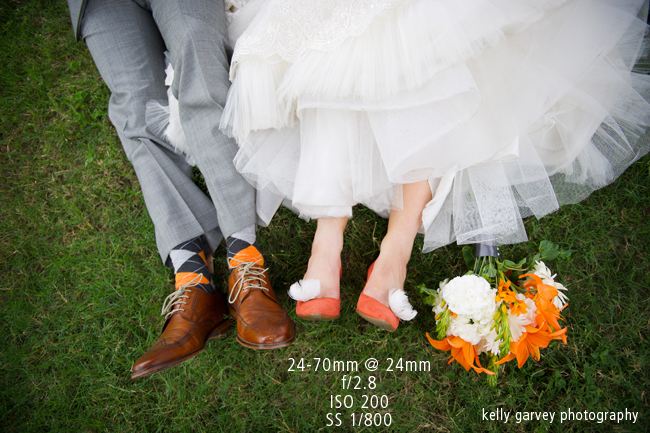 Wedding photo of bride and grooms shoes with wedding bouquet taken with 24-70mm lens