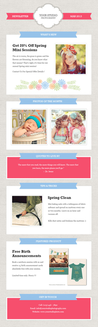 photography marketing newsletter template