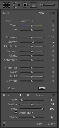 lightroom editing: black and white luminance and contrast