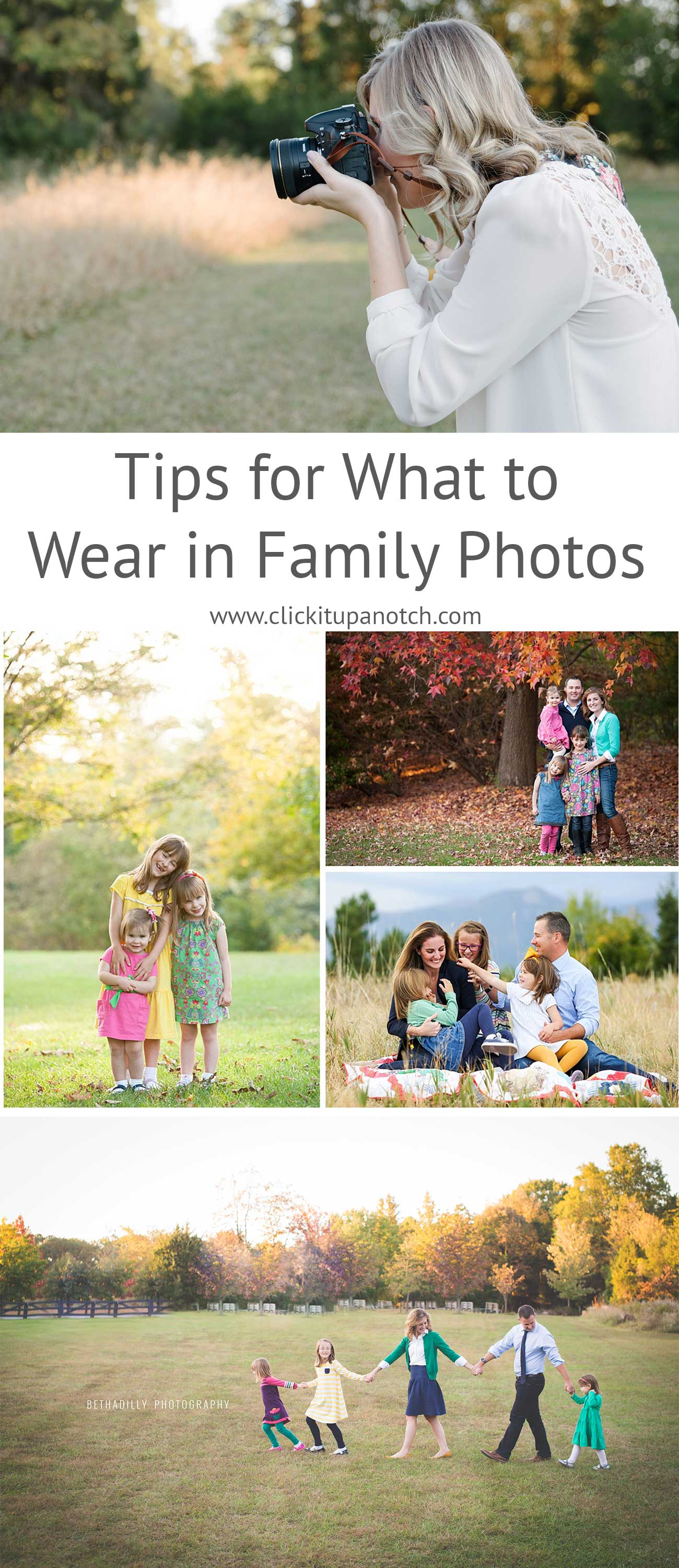 11 tips for what to wear in family photos. Gone are the days of matchy matchy. Learn how to rock your family photos and figure out what to wear.