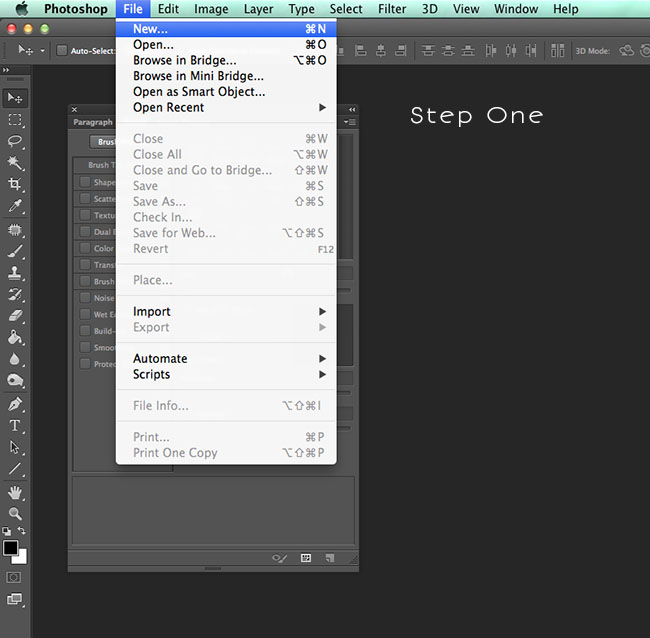Creating a watermark in photoshop: Step 1