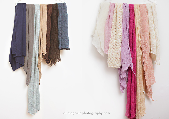 newborn photography wraps of different kinds like cheesecloth and variety of colors