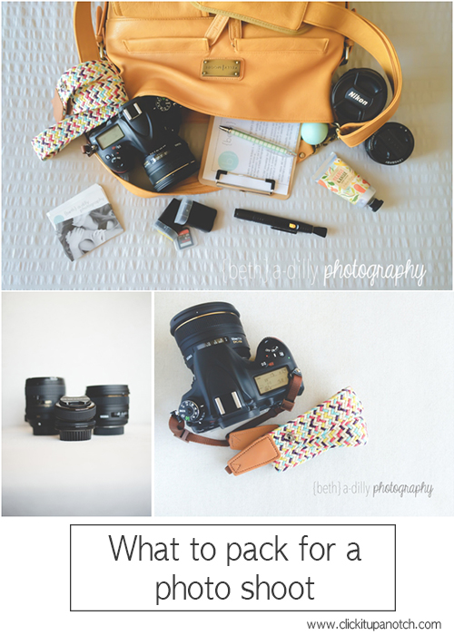 What to pack for a photo shoot via Click it Up a Notch