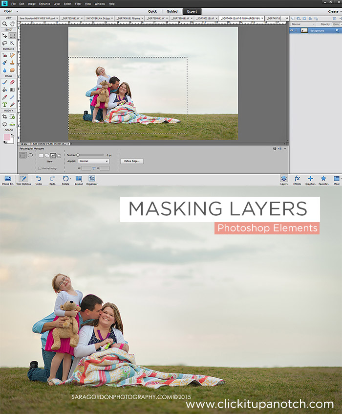 Masking Layers in PSE by Sara Gordon via Click it Up a Notch