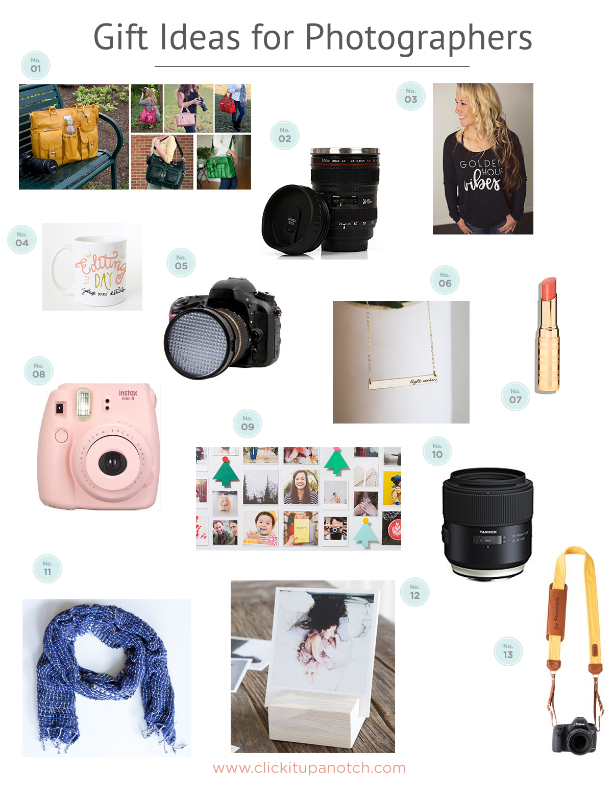 What an amazing list of gift ideas for photographers! I need to send Santa this list as there are several things I really want! Via clickitupanotch.com