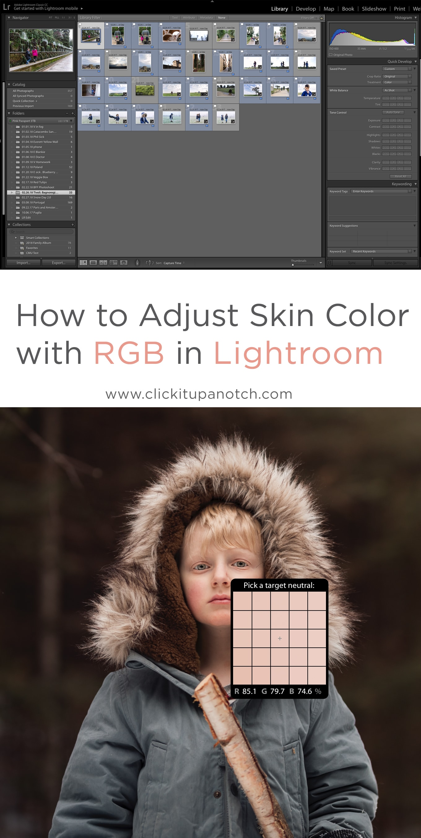 "This has RGB numbers and tells you how to correct skin tones in camera and in Light room. Must Read - ""How to Adjust Skin Color with RGB in Lightroom"""