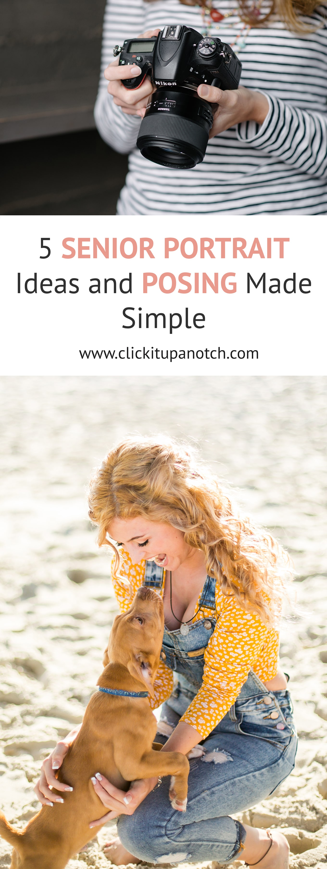 "These ideas are also great for other types of portrait sessions. There are bonus tips at the end too! Read ""5 Senior Portrait Ideas and Posing Made Simple"""