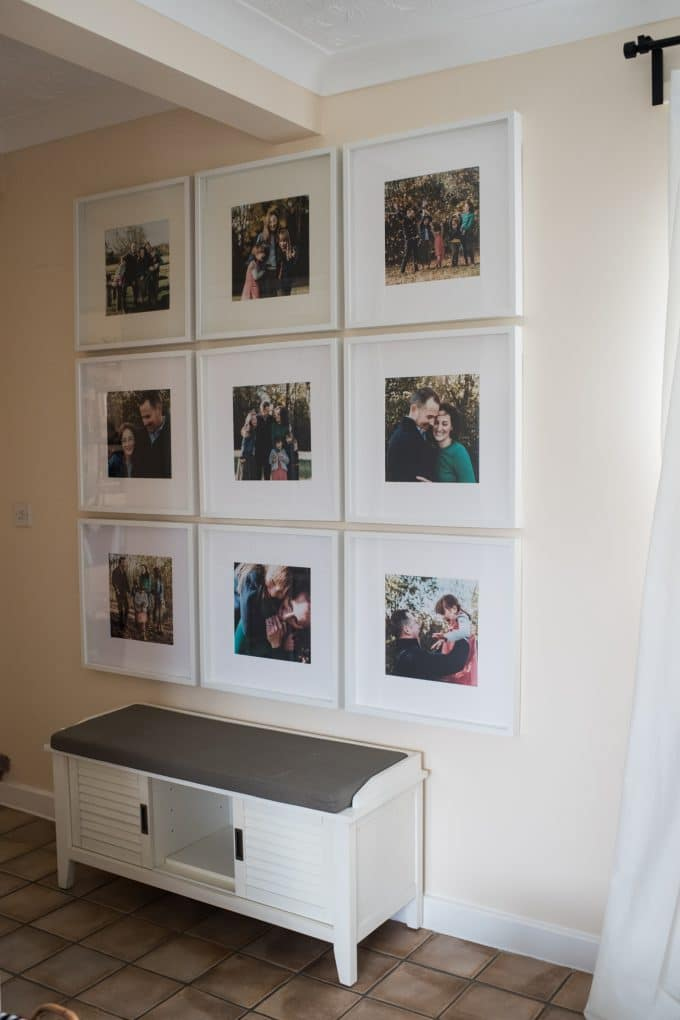 Photo wall with 12x12 IKEA frame holding family photos. Looking at home decor helps pick family photo outfits