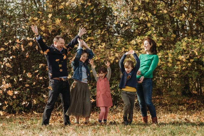 Consider wearing warm earth tones for your fall family picture outfits