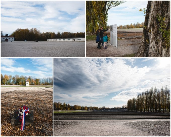Outlines of where the barracks at Dachau concentration camp once stood