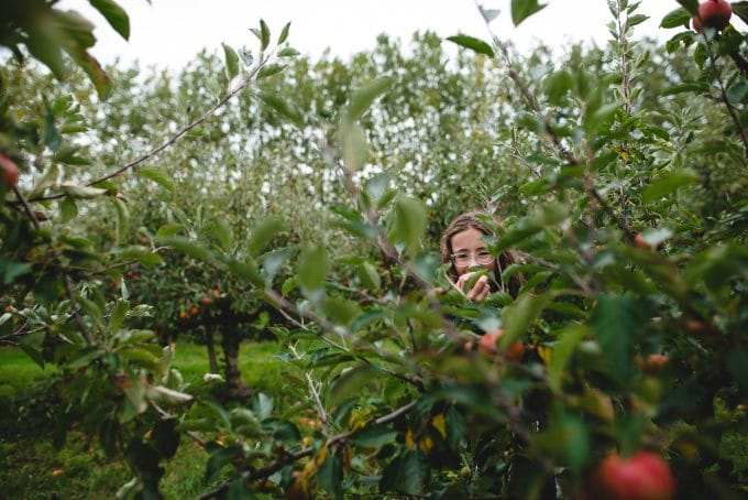 Image of child eating an apple in an orchard. Properly exposed image using the exposure triangle.
