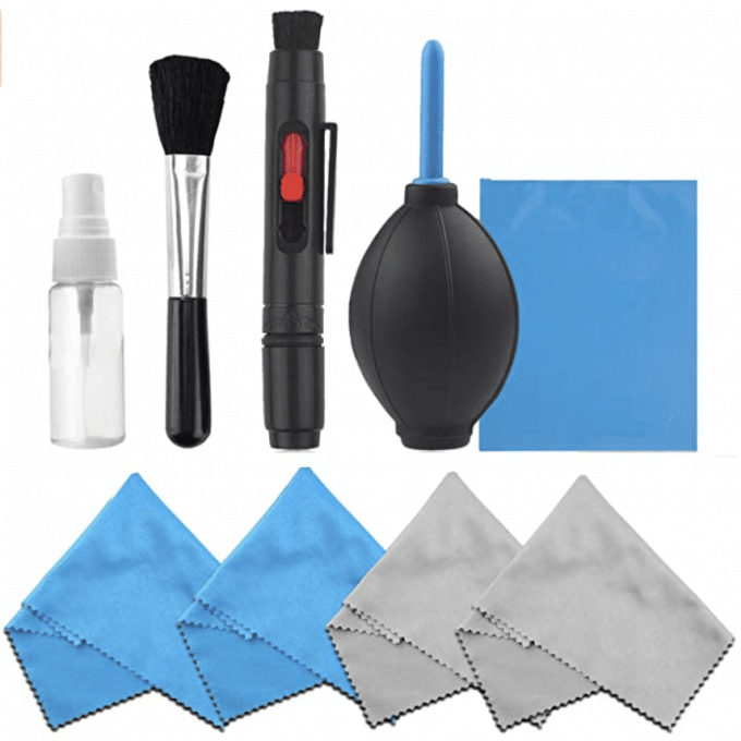 A small clear spray bottle, black brush, black lens pen, air puffer, and blue and gray cleaning cloths are the best gifts for photographers.