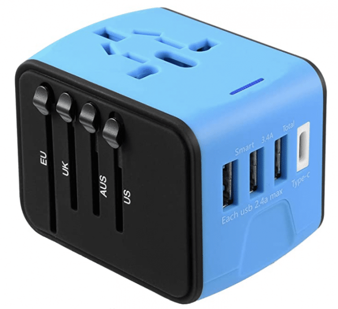 Black and blue small convertor box perfect for travel and a great gift for photographers.