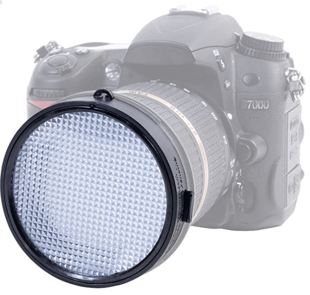 A blurred out camera and an in focus white lens screen. An expodisc is one of the best gifts for photographers.