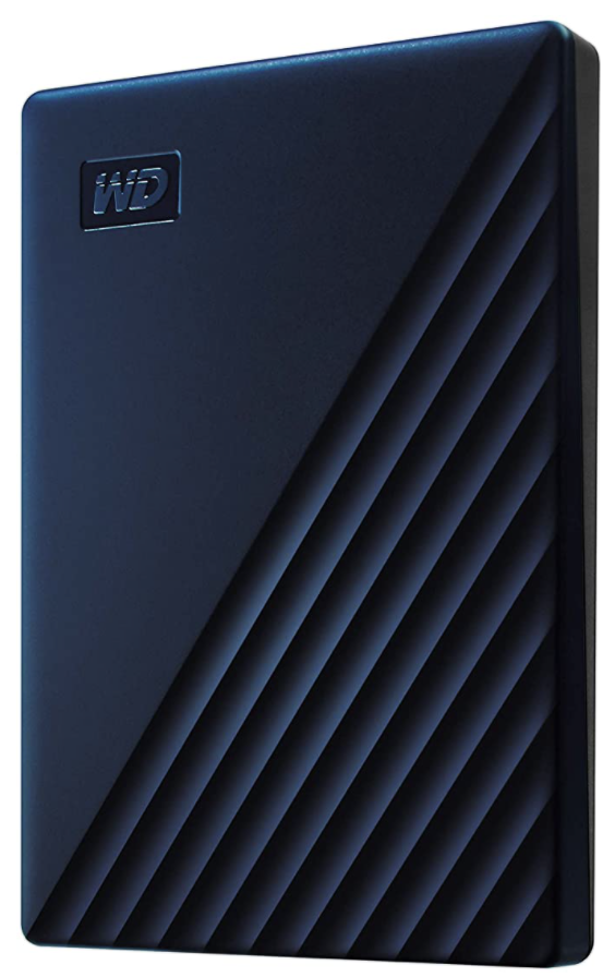 A small rectangular external hard drive with diagonal ridges and the brand WD