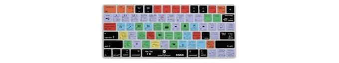 Different colored keyboard keys with images and helpful shortcuts for lightroom.